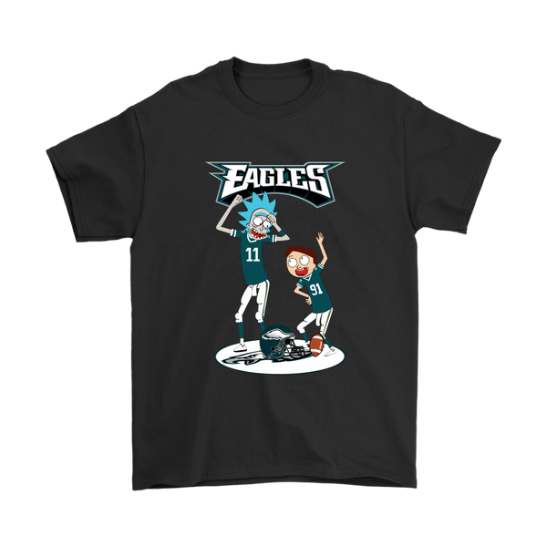 NFL - Philadelphia Eagles Rick And Morty Football NFL Shirts-T-shirt-Gildan Mens T-Shirt-Black-S-Itees Global