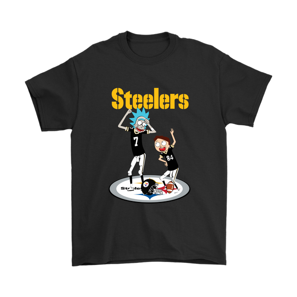 NFL - Pittsburgh Steelers Rick And Morty Football NFL Shirts-T-shirt-Gildan Mens T-Shirt-Black-S-Itees Global