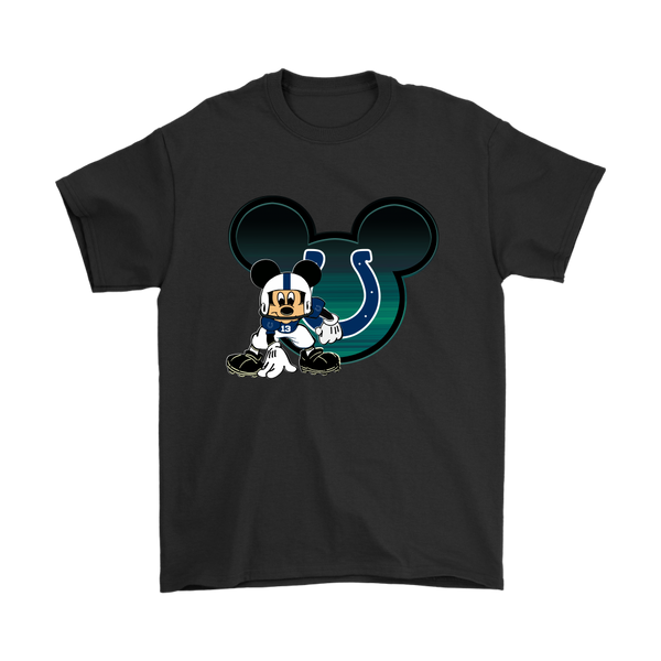 NFL – Indianapolis Colts Mickey Mouse Football Shirts-T-shirt-Gildan Mens T-Shirt-Black-S-Itees Global
