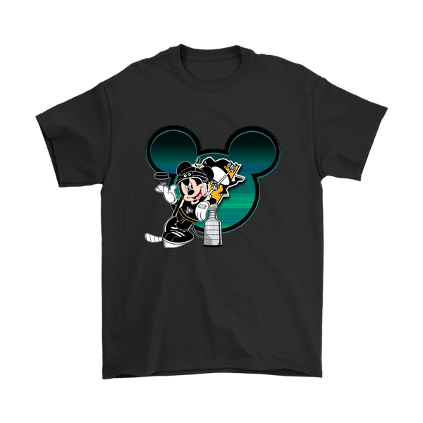 NHL – Pittsburgh Penguins Mickey Mouse Hockey Disney Shirt-T-shirt-Gildan Mens T-Shirt-Black-S-Itees Global