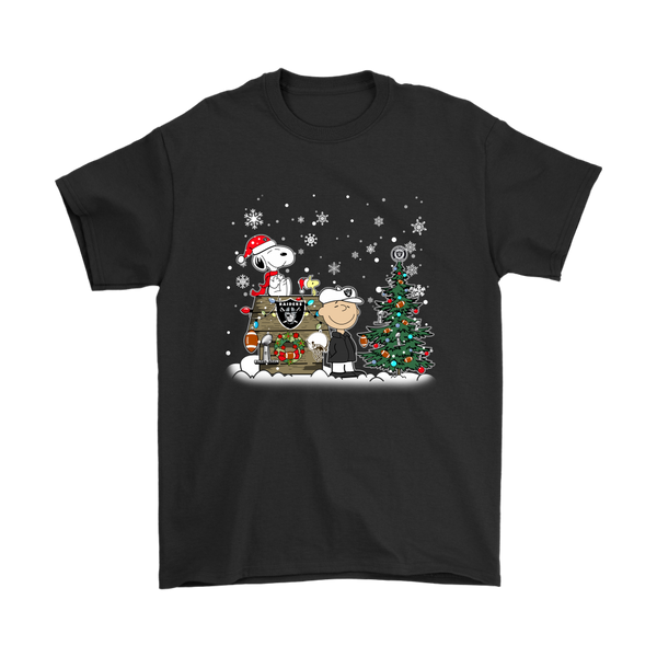 NFL – Oakland Raiders Snoopy The Peanuts Movie Christmas Football Super Bowl Shirt-T-shirt-Gildan Mens T-Shirt-Black-S-Itees Global