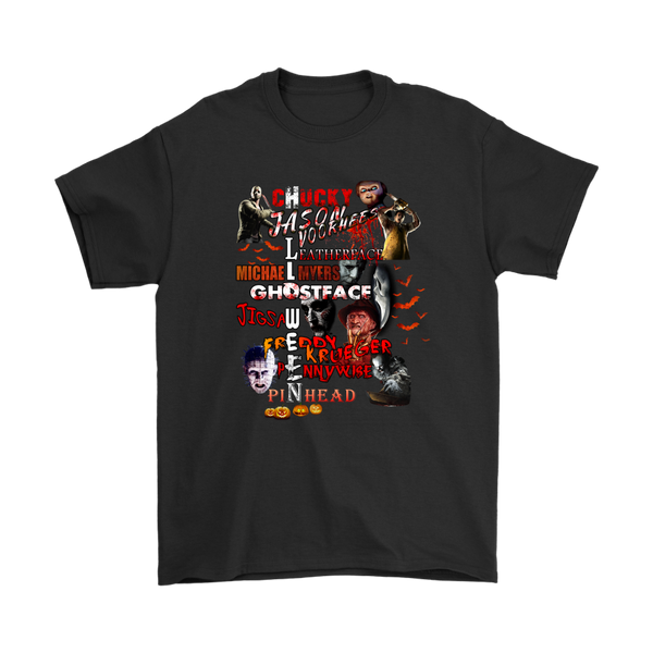 Chucky Jason Voorhees Leatherface Michael Myers Freddy Krueger GhostFace Jigsaw Pennywise Pinhead Halloween Shirts-T-shirt-Gildan Mens T-Shirt-Black-S-Itees Global