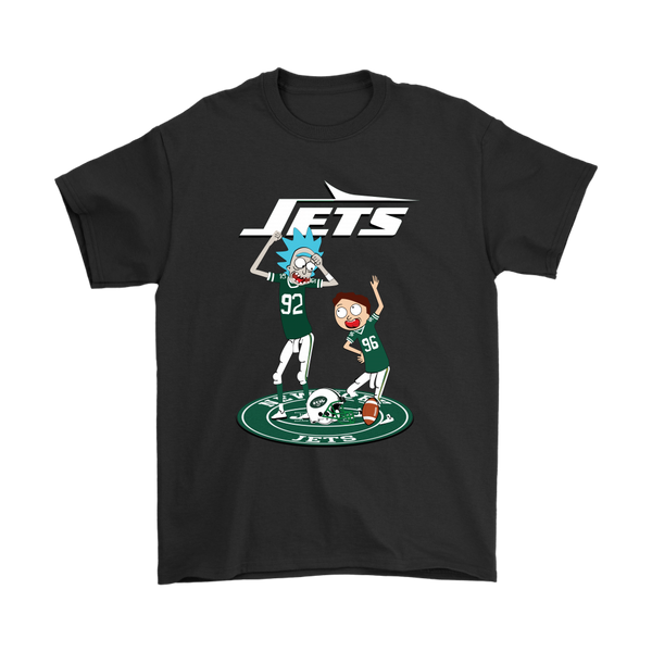 NFL - New York Jets Rick And Morty Football NFL Shirts-T-shirt-Gildan Mens T-Shirt-Black-S-Itees Global