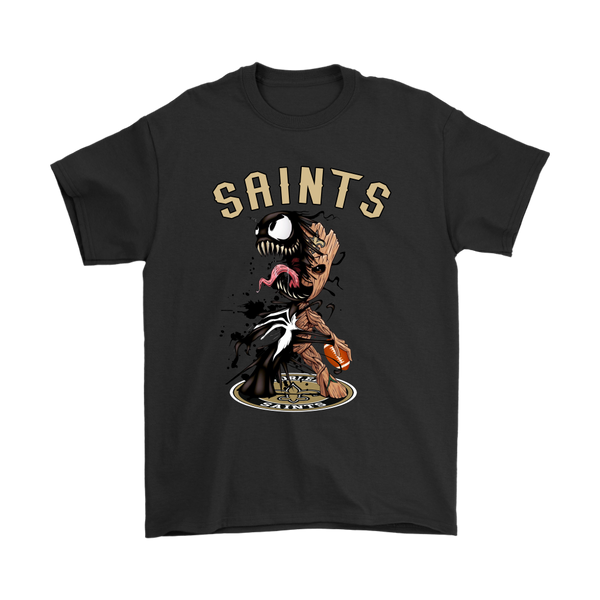NFL – New Orleans Saints Venom Groot Guardian Of The Galaxy Football Shirts-T-shirt-Gildan Mens T-Shirt-Black-S-Itees Global