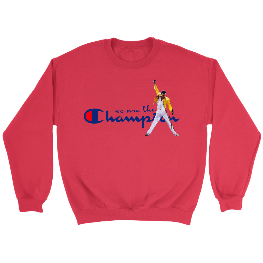 WE ARE THE CHAMPIONS QUEEN FREDDIE MERCURY SHIRTS-T-shirt-Crewneck Sweatshirt-Red-S-Itees Global