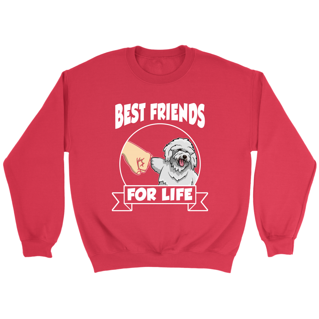 Bichon Frise Best Friends For Life Dog Shirts-T-shirt-Crewneck Sweatshirt-Red-S-Itees Global