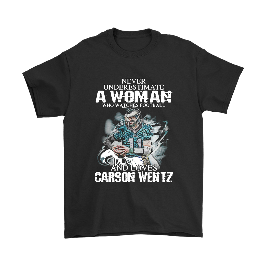 A Woman Watches Football And Love Carson Wentz Sports Shirts