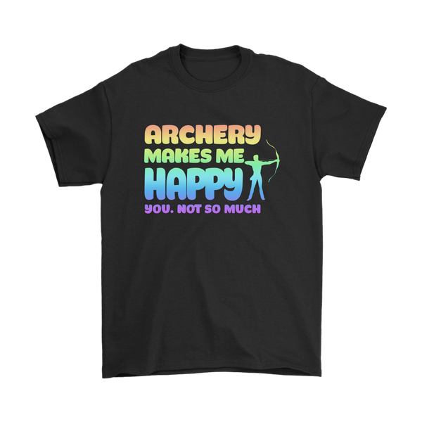 Archery Makes Me Happy You, Not So Much-T-shirt-Gildan Mens T-Shirt-Black-S-Itees Global