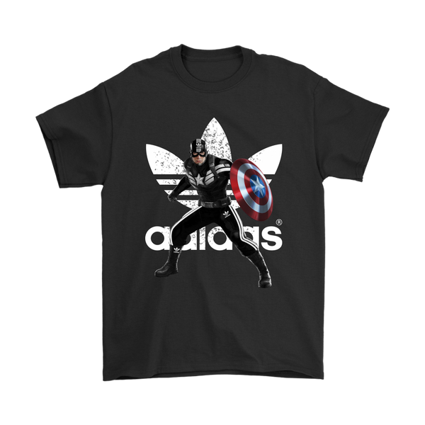 Captain America Adidas Avengers Marvel Shirts-T-shirt-Gildan Mens T-Shirt-Black-S-Itees Global