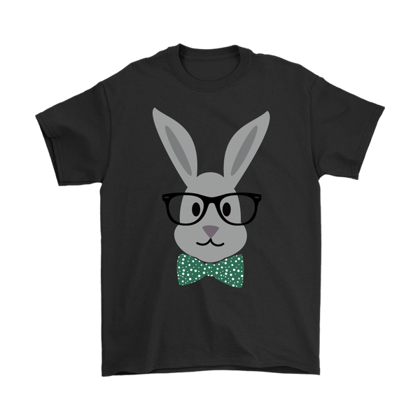 Cute Easter Bunny Wearing Glasses Cartoon Movies Animals Shirts.-T-shirt-Gildan Mens T-Shirt-Black-S-Itees Global