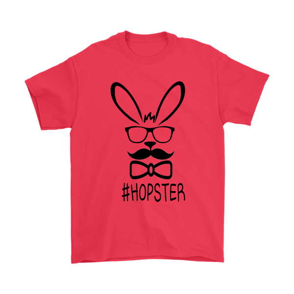 Cute Hopster Rabbit With Glasses Hipster Bunny Mustache Easter Shirts-T-shirt-Gildan Mens T-Shirt-Red-S-Itees Global