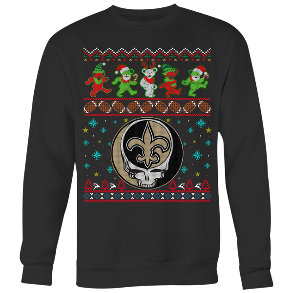 NFL - New Orleans Saints Christmas Grateful Dead Jingle Bears Football Ugly Sweatshirt-T-shirt-Crewneck Sweatshirt Big Print-Black-S-Itees Global