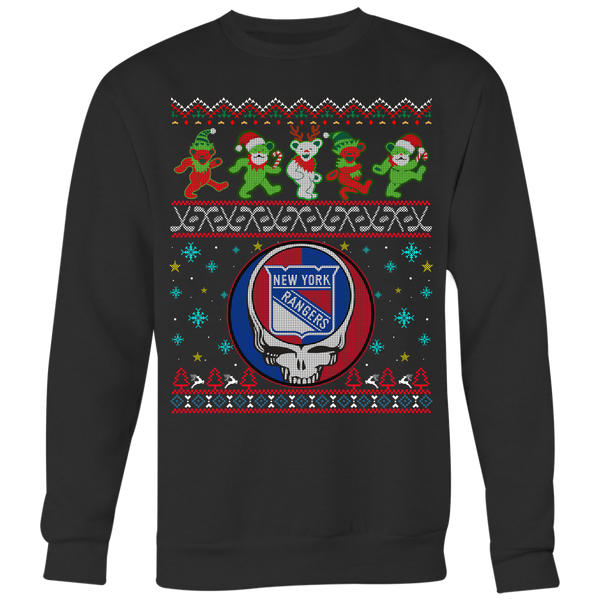 NHL - New York Rangers Christmas Grateful Dead Jingle Bears Hockey Ugly Sweatshirt-T-shirt-Crewneck Sweatshirt Big Print-Black-S-Itees Global