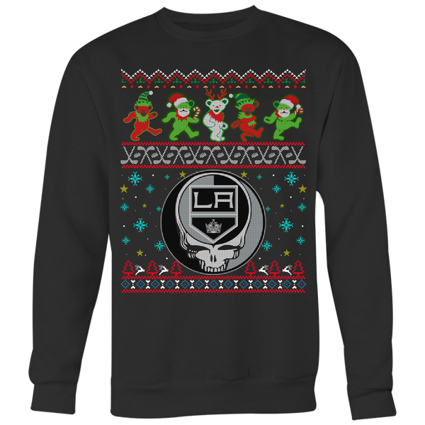 NHL - Los Angeles Kings Christmas Grateful Dead Jingle Bears Hockey Ugly Sweatshirts-T-shirt-Crewneck Sweatshirt Big Print-Black-S-Itees Global