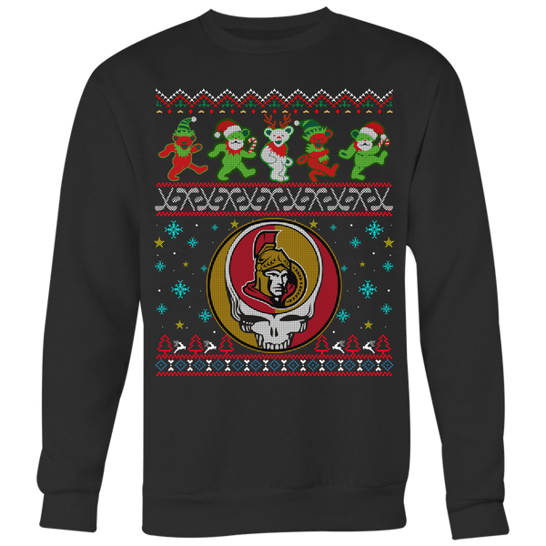 NHL - Ottawa Senators Christmas Grateful Dead Jingle Bears Hockey Ugly Sweatshirt-T-shirt-Crewneck Sweatshirt Big Print-Black-S-Itees Global