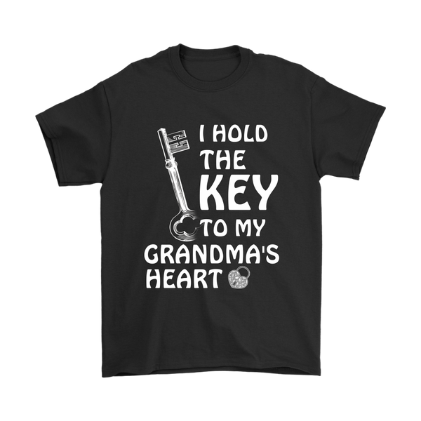 I Hold The Key To My Grandma's Heart Family Shirts-T-shirt-Gildan Mens T-Shirt-Black-S-Itees Global