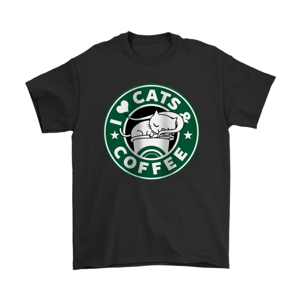 I Love Cats & Coffee Shirts-T-shirt-Gildan Mens T-Shirt-Black-S-Itees Global