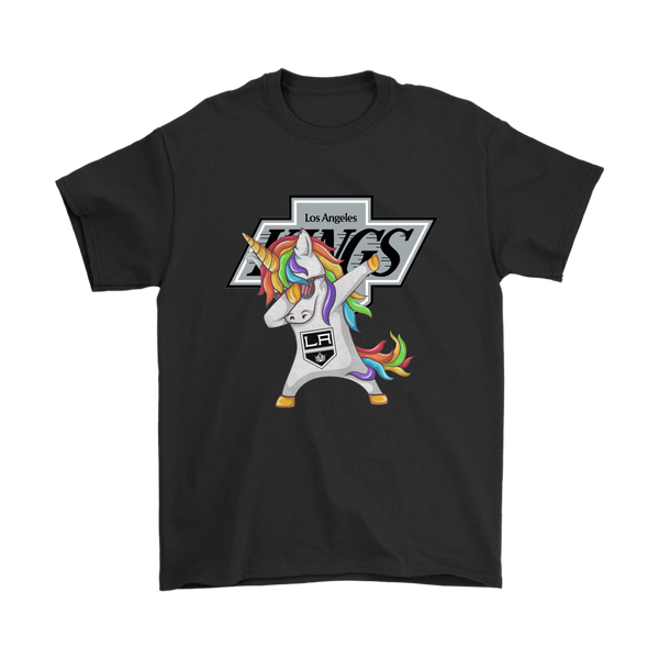 Los Angeles Kings Unicorn Dabbing Hockey Sports Shirts-T-shirt-Gildan Mens T-Shirt-Black-S-Itees Global
