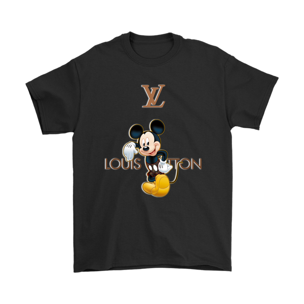 Louis Vuitton Mickey Mouse Disney Shirts-T-shirt-Gildan Mens T-Shirt-Black-S-Itees Global