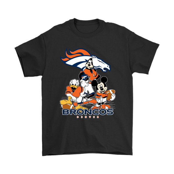 Mickey Mouse, Donald Duck And Goofy Denver Broncos American Football Sports Shirts-T-shirt-Gildan Mens T-Shirt-Black-S-Itees Global