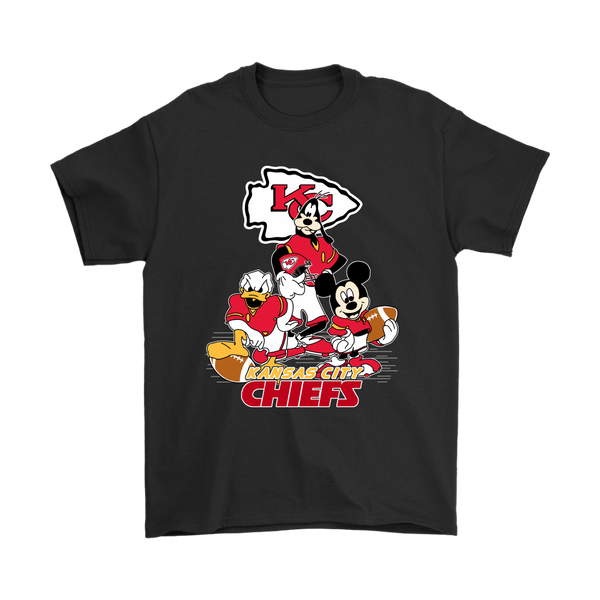 Mickey Mouse NFL Kansas City Chiefs American Football Sports Shirts-T-shirt-Gildan Mens T-Shirt-Black-S-Itees Global