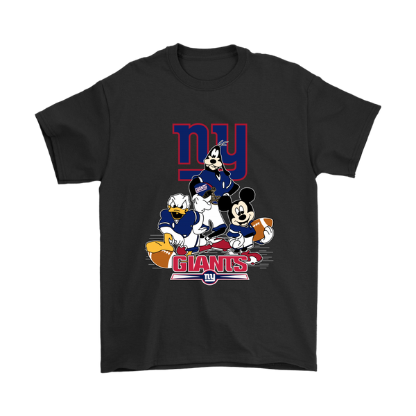 Mickey Mouse NFL New York Giants American Football Sports Shirts-T-shirt-Gildan Mens T-Shirt-Black-S-Itees Global