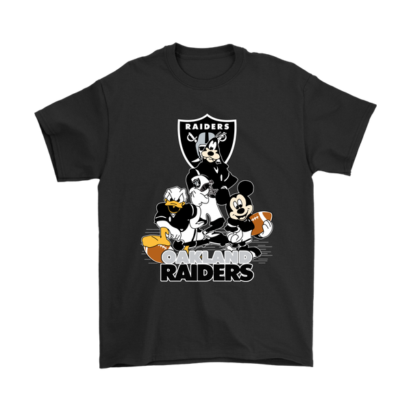 Mickey Mouse NFL Oakland Raiders American Football Sports Shirts-T-shirt-Gildan Mens T-Shirt-Black-S-Itees Global