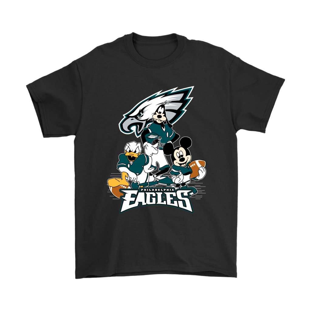 Mickey Mouse NFL Philadelphia Eagles American Football Sports Shirts-T-shirt-Gildan Mens T-Shirt-Black-S-Itees Global