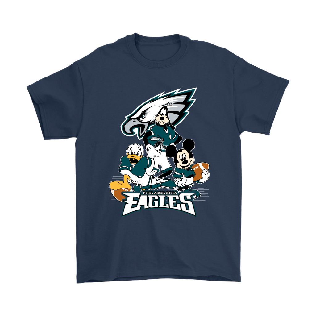 Mickey Mouse NFL Philadelphia Eagles American Football Sports Shirts-T-shirt-Gildan Mens T-Shirt-Navy-S-Itees Global