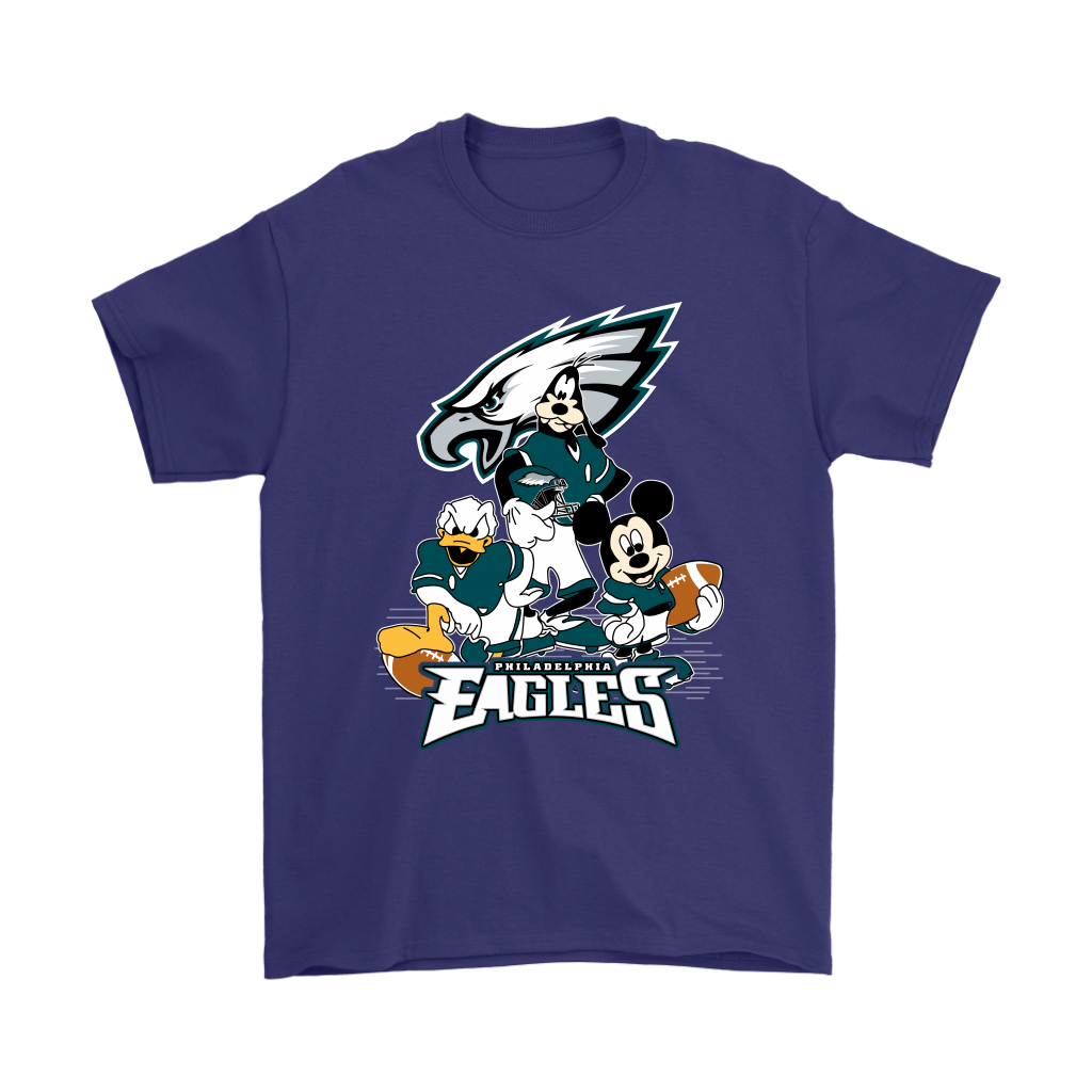 Mickey Mouse NFL Philadelphia Eagles American Football Sports Shirts-T-shirt-Gildan Mens T-Shirt-Purple-S-Itees Global