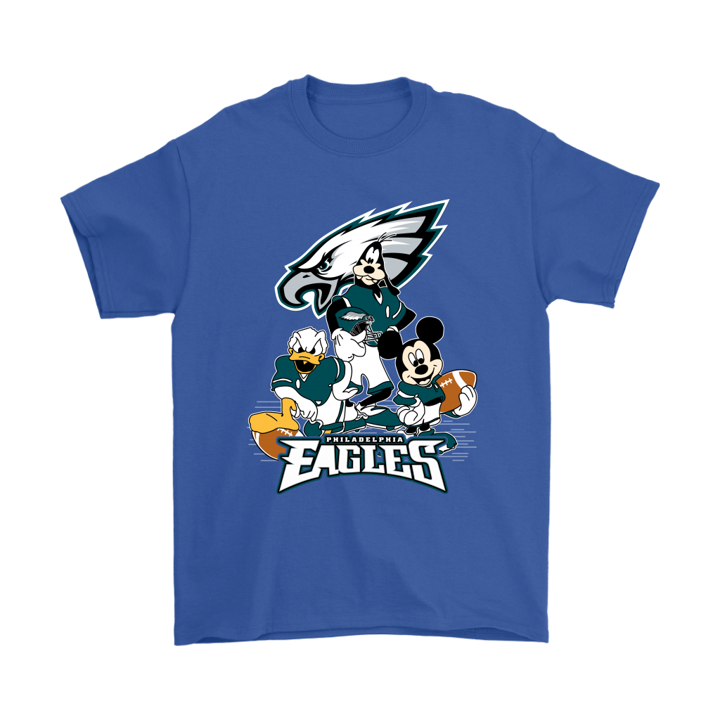 Mickey Mouse NFL Philadelphia Eagles American Football Sports Shirts-T-shirt-Gildan Mens T-Shirt-Royal Blue-S-Itees Global