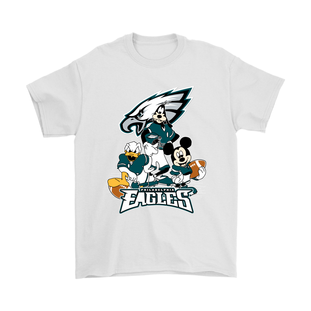 Mickey Mouse NFL Philadelphia Eagles American Football Sports Shirts-T-shirt-Gildan Mens T-Shirt-White-S-Itees Global