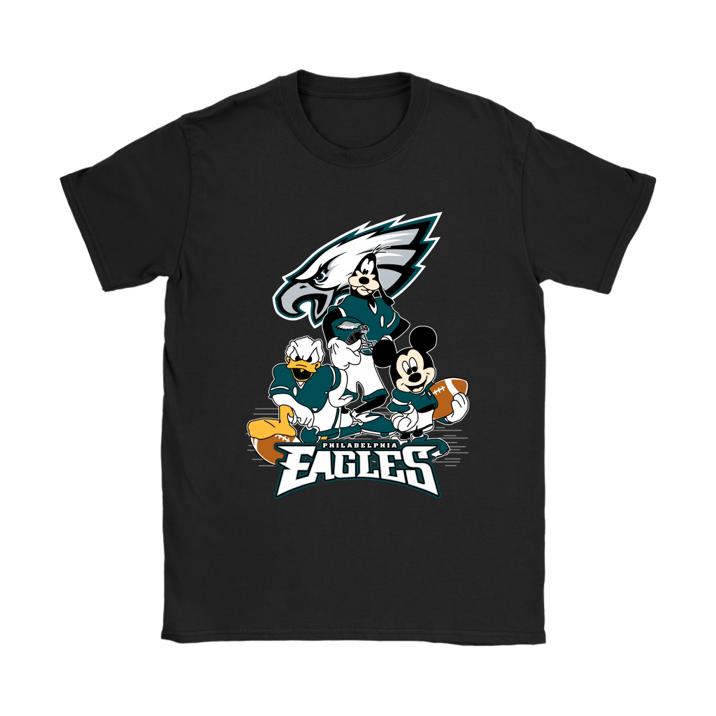 Mickey Mouse NFL Philadelphia Eagles American Football Sports Shirts-T-shirt-Gildan Womens T-Shirt-Black-S-Itees Global