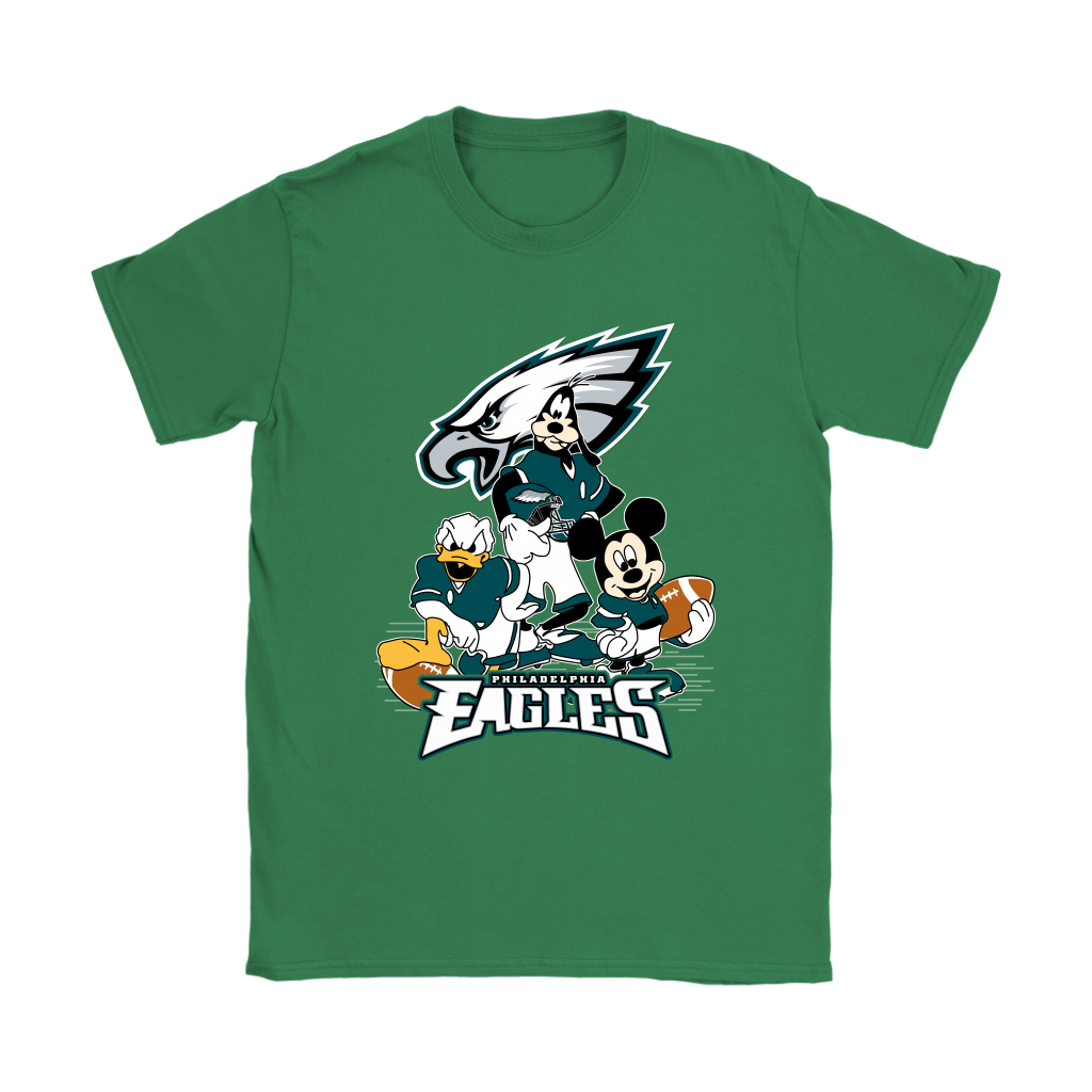 Mickey Mouse NFL Philadelphia Eagles American Football Sports Shirts-T-shirt-Gildan Womens T-Shirt-Irish Green-S-Itees Global