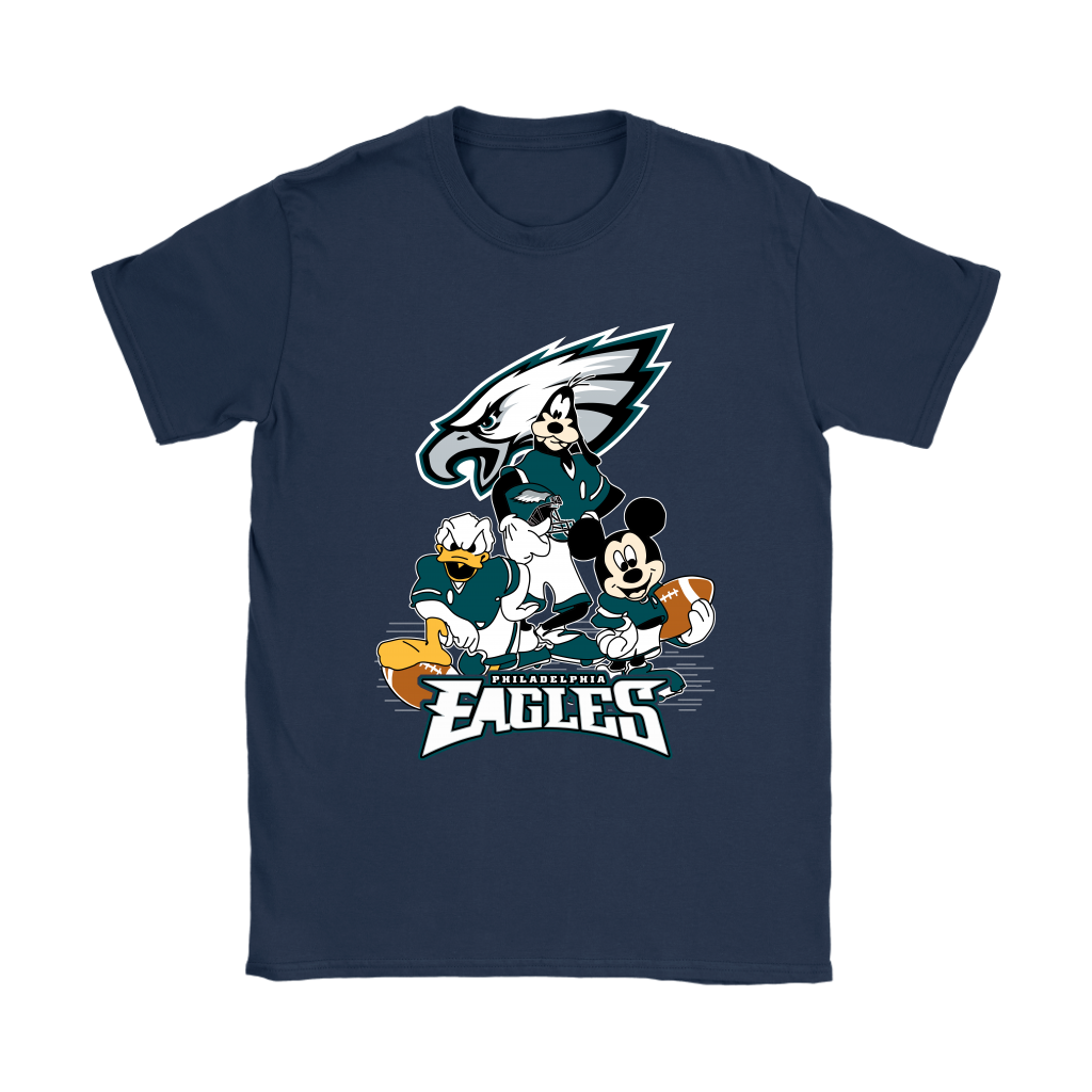 Mickey Mouse NFL Philadelphia Eagles American Football Sports Shirts-T-shirt-Gildan Womens T-Shirt-Navy-S-Itees Global