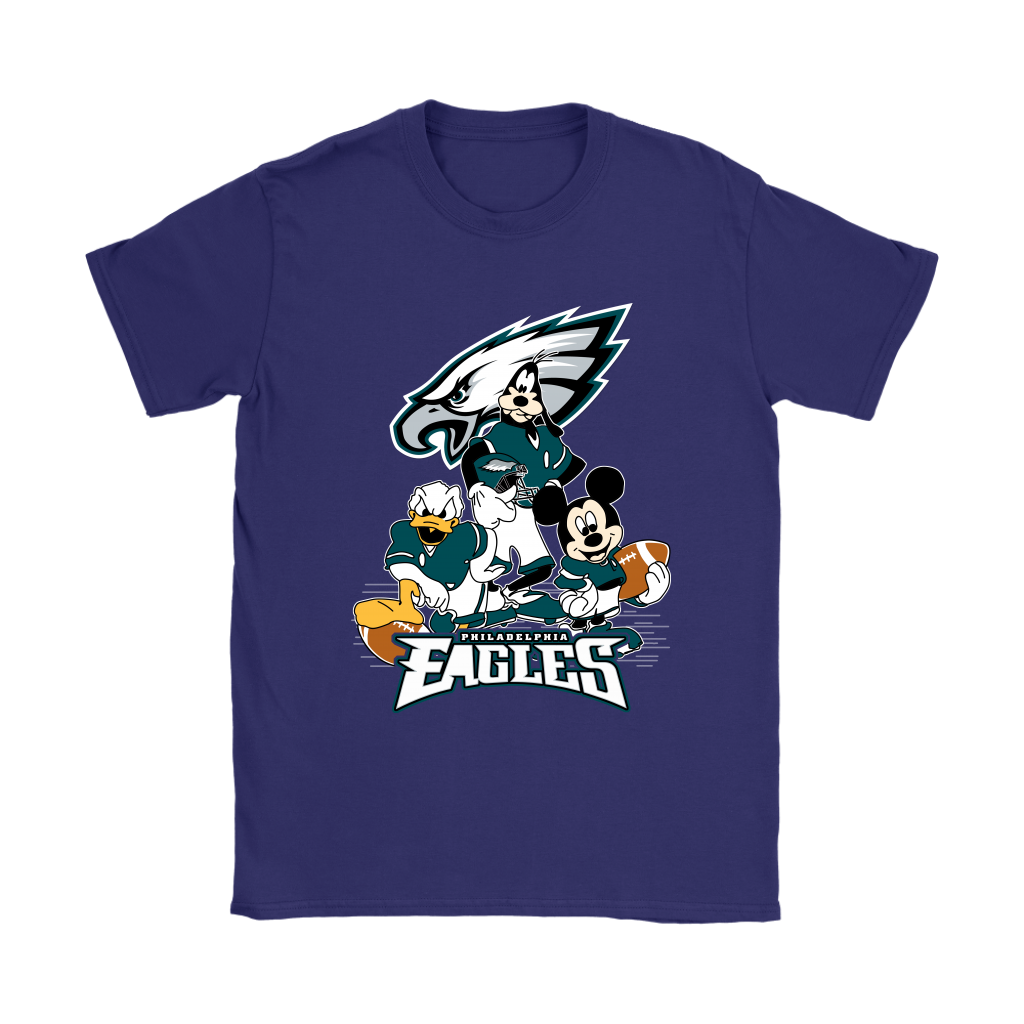 Mickey Mouse NFL Philadelphia Eagles American Football Sports Shirts-T-shirt-Gildan Womens T-Shirt-Purple-S-Itees Global