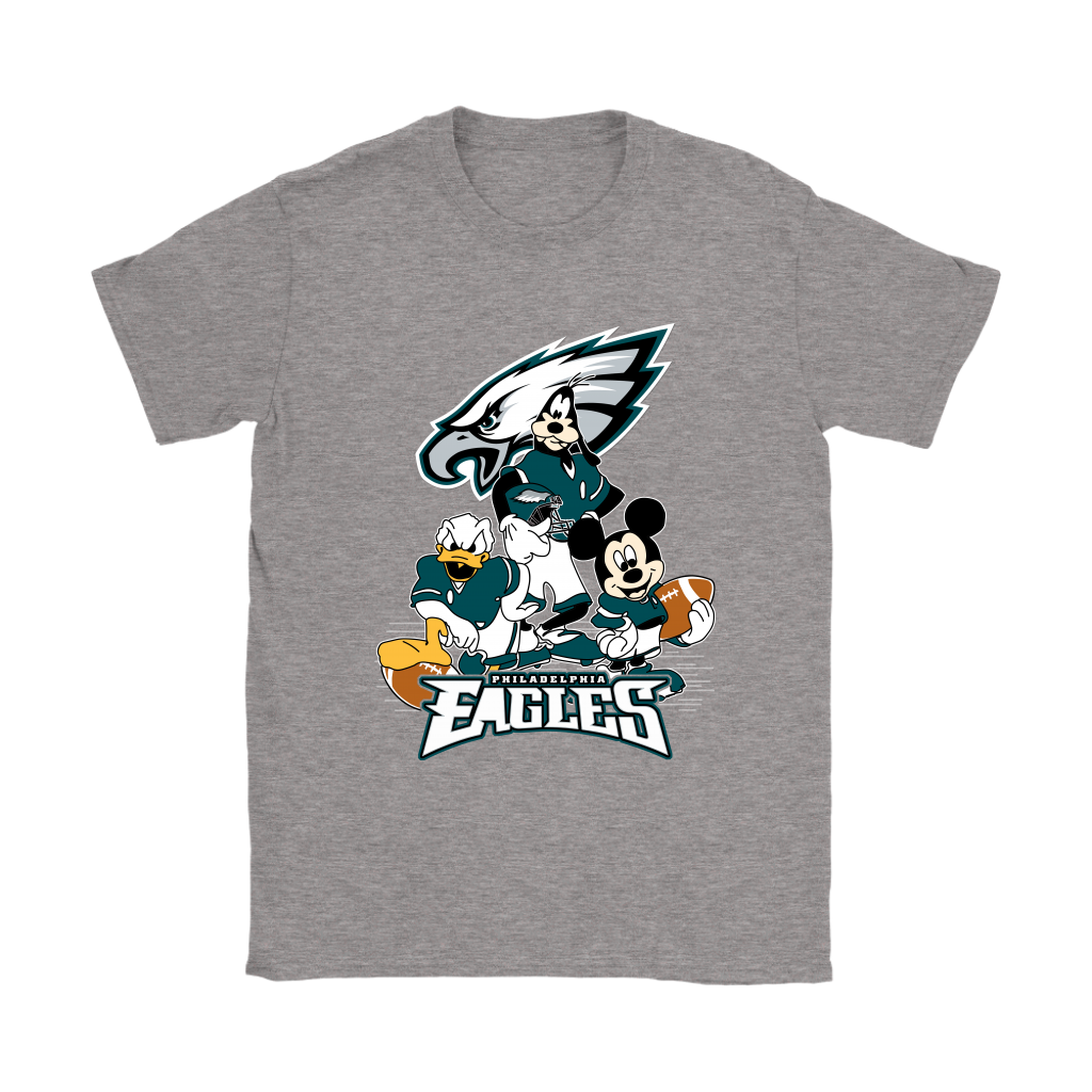 Mickey Mouse NFL Philadelphia Eagles American Football Sports Shirts-T-shirt-Gildan Womens T-Shirt-Sport Grey-S-Itees Global