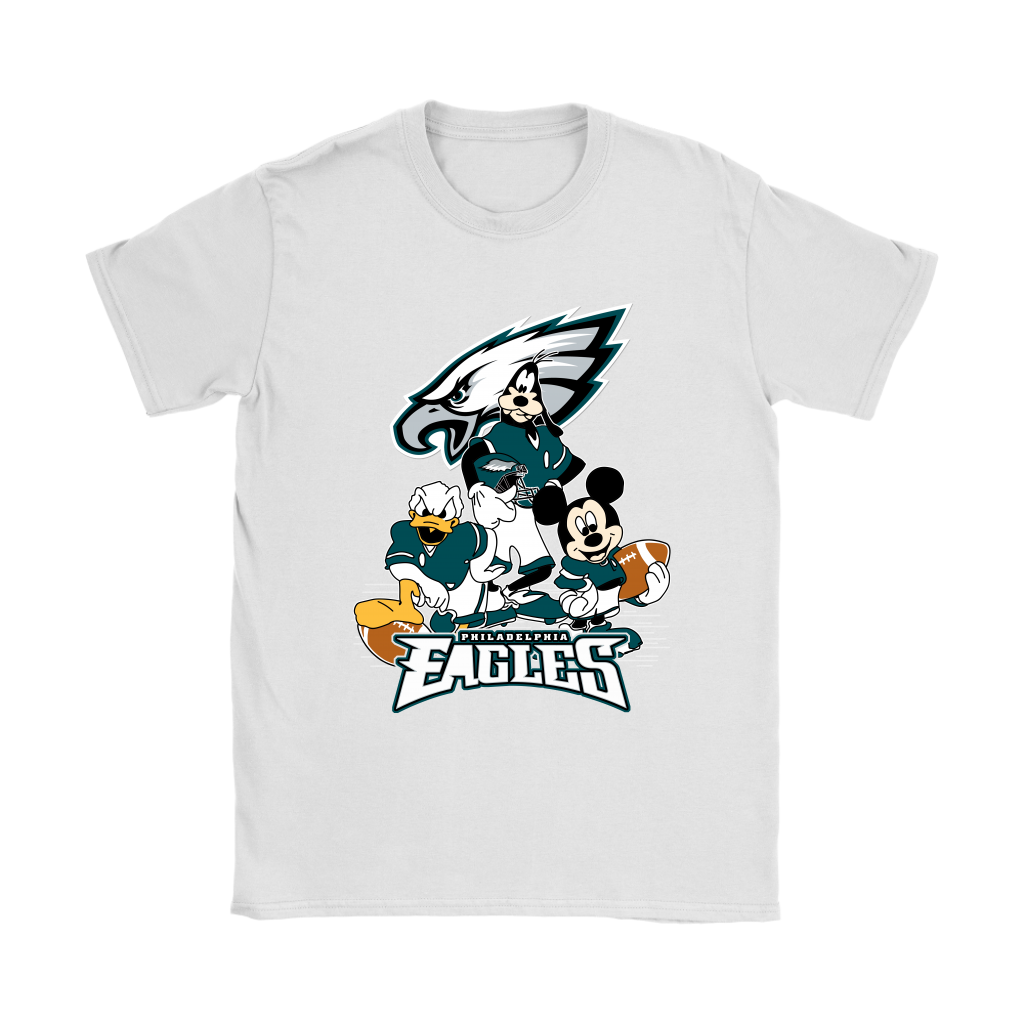 Mickey Mouse NFL Philadelphia Eagles American Football Sports Shirts-T-shirt-Gildan Womens T-Shirt-White-S-Itees Global