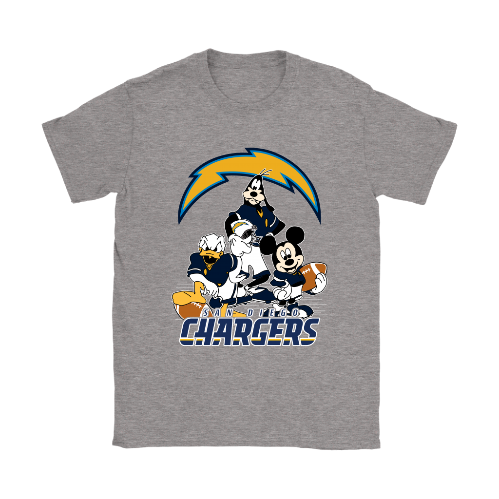 Mickey Mouse NFL San Diego Chargers American Football Sports Shirts Women