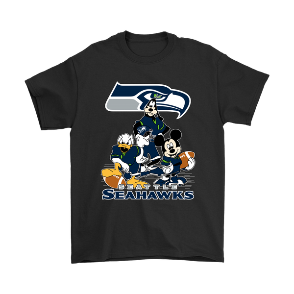Mickey Mouse NFL Seattle Seahawks American Football Sports Disney Shirts-T-shirt-Gildan Mens T-Shirt-Black-S-Itees Global
