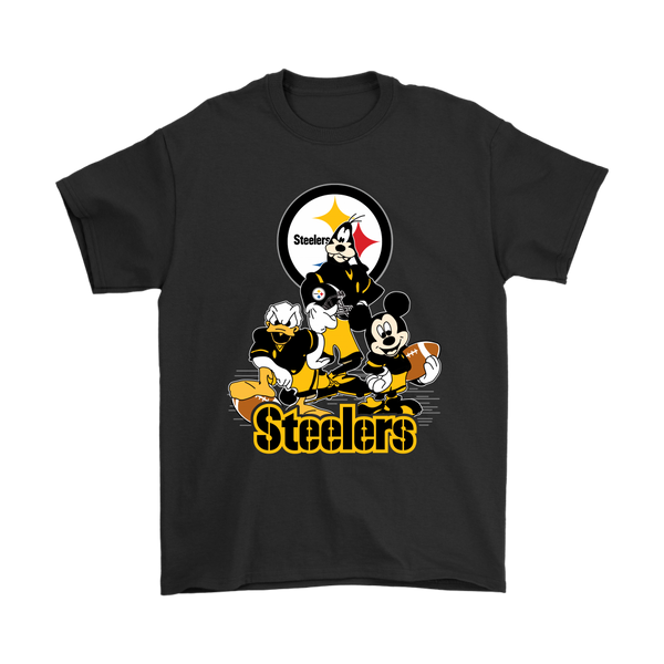 Mickey Mouse Pittsburgh Steelers American Football NFL Sports Shirts-T-shirt-Gildan Mens T-Shirt-Black-S-Itees Global