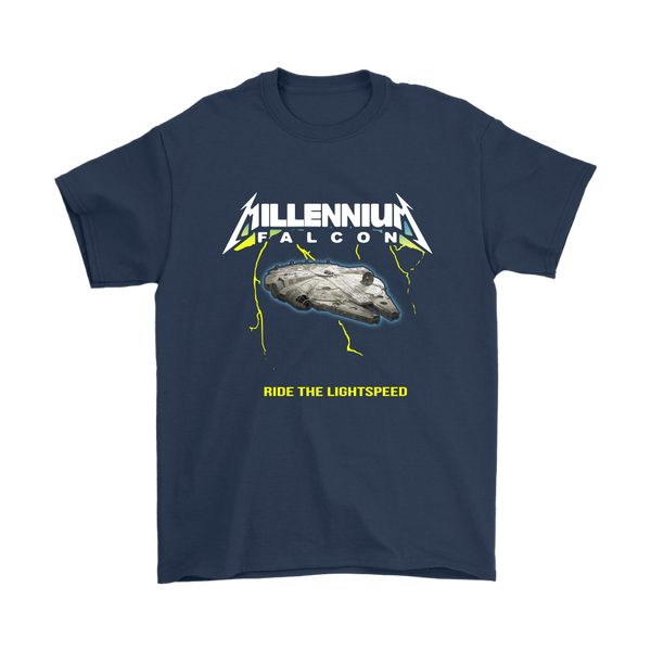 Millennium Falcon Ride The Lightspeed Star Wars Shirts-T-shirt-Gildan Mens T-Shirt-Navy-S-Itees Global