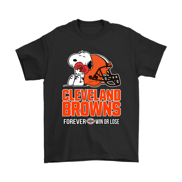 NFL – Cleveland Browns Forever Win Or Lose Football Snoopy Shirts-T-shirt-Gildan Mens T-Shirt-Black-S-Itees Global