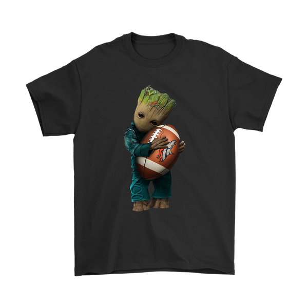 NFL - Denver Broncos Guardians Of The Galaxy Groot Football NFL Shirts-T-shirt-Gildan Mens T-Shirt-Black-S-Itees Global
