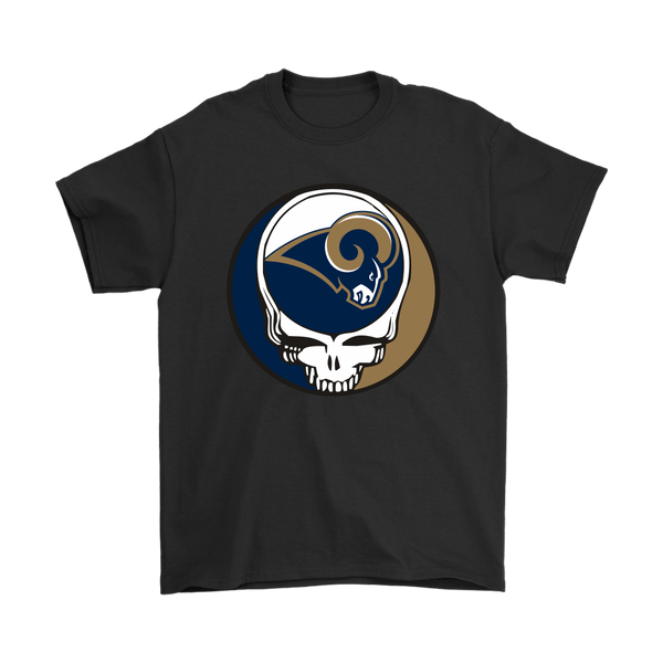 NFL - Los Angeles Rams Grateful Dead Steal Your Face Football NFL Shirts-T-shirt-Gildan Mens T-Shirt-Black-S-Itees Global