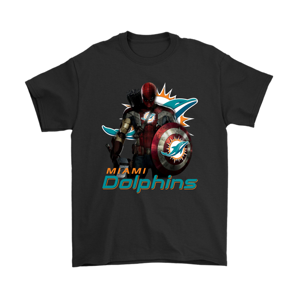 NFL – Miami Dolphins Thor Captain America Spiderman Shirts-T-shirt-Gildan Mens T-Shirt-Black-S-Itees Global
