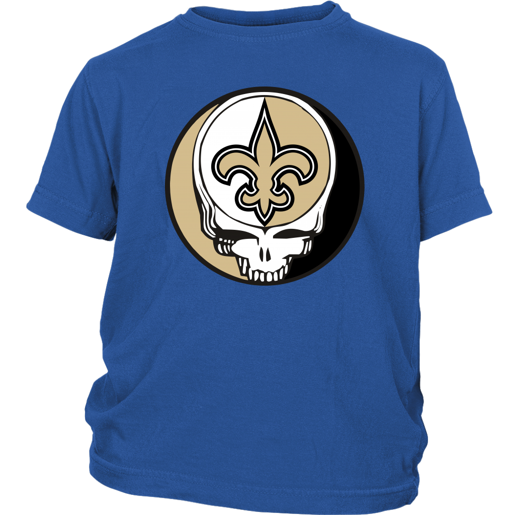 NFL - New Orleans Saints Grateful Dead Steal Your Face Football NFL Shirts-T-shirt-District Youth Shirt-Royal Blue-XS-Itees Global