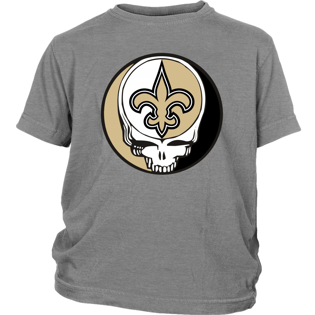 NFL - New Orleans Saints Grateful Dead Steal Your Face Football NFL Shirts-T-shirt-District Youth Shirt-Sport Grey-XS-Itees Global