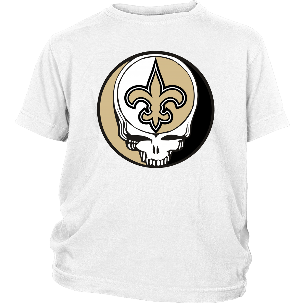 NFL - New Orleans Saints Grateful Dead Steal Your Face Football NFL Shirts-T-shirt-District Youth Shirt-White-XS-Itees Global