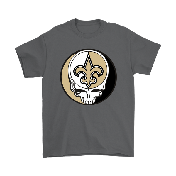 NFL - New Orleans Saints Grateful Dead Steal Your Face Football NFL Shirts-T-shirt-Gildan Mens T-Shirt-Charcoal-S-Itees Global